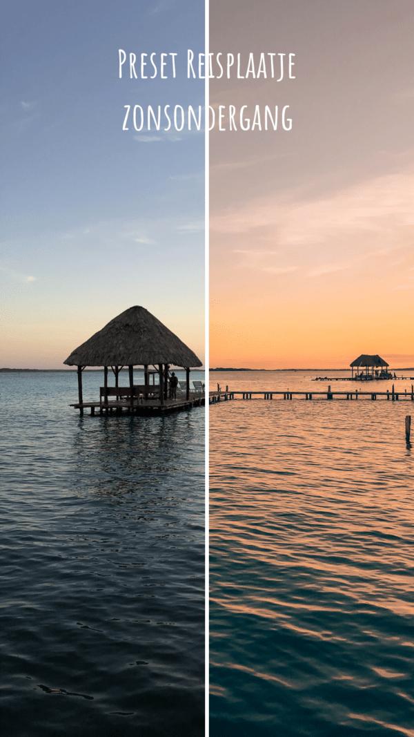 Before - After Preset Lightroom Reisplaatje Zonsondergang