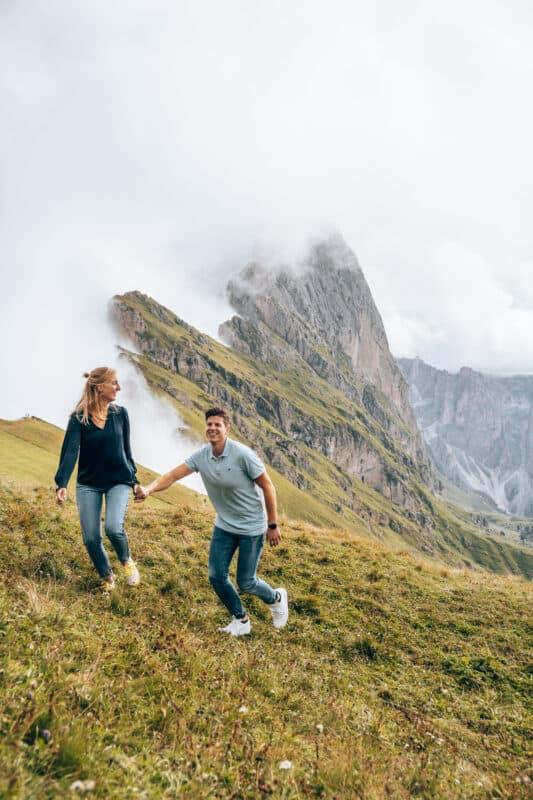Uitzicht Mount Seceda in de Dolomieten laten zien
