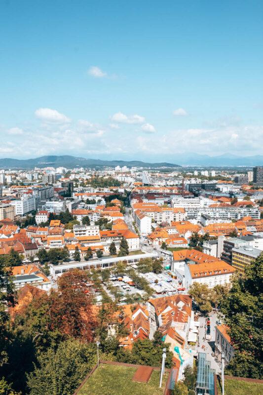Uitzicht Ljubljana Grad rondreis Slovenië